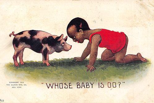 Boy & pig facing off