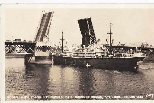 Portland - Ocean Liner under draw bridge 1942