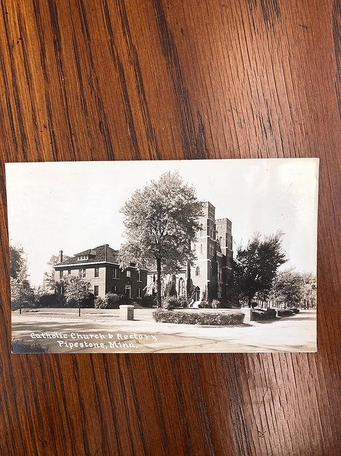 Pipestone, Minnesota  - Catholic Church & Rectory 1933