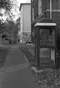 Phone box Street photography in Buda. Bu