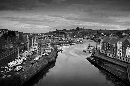 Black and white photograph of Whitby from the new bridge.