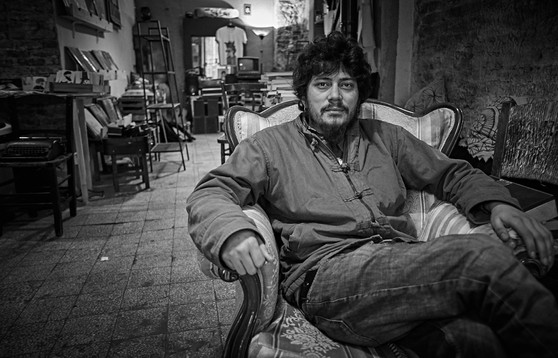Portrait of a man who sold books from his home in Istanbul.