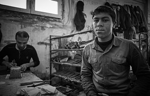 Portrait of a man in a shoe factory in Istanbul.