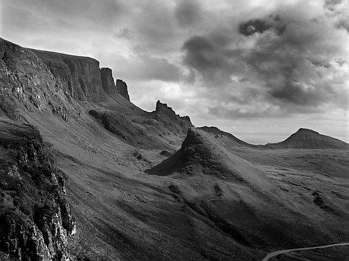 Black and white print of the Quiraing, Isle of skye, Scotland.