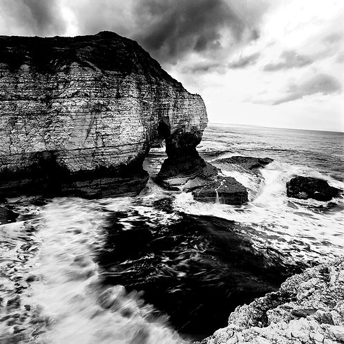 Black and white photograph of first bay Flamborough, Yorkshire