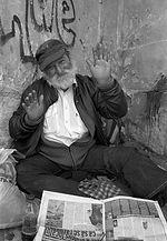 Portrait of a lovely homeless man. maram
