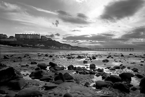 Black and white print of a sunset at Saltburn by the Sea.