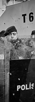 Street photography of police riot squad