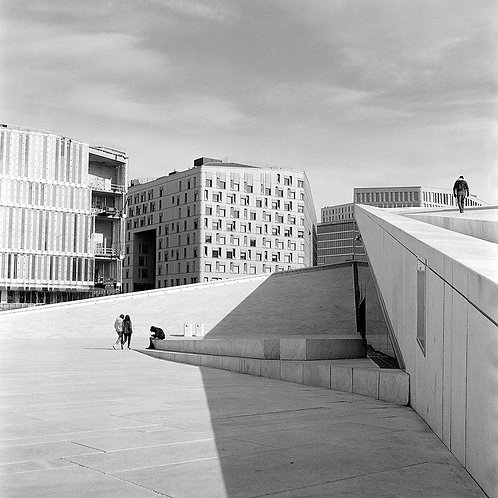 Black and white print of the famous Opera House Oslo, Norway.