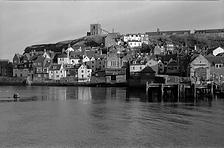 Black and white photograph of Whitby loo
