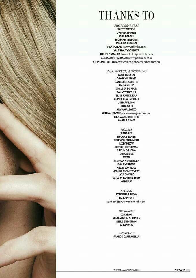 Elegant Magazine Credits