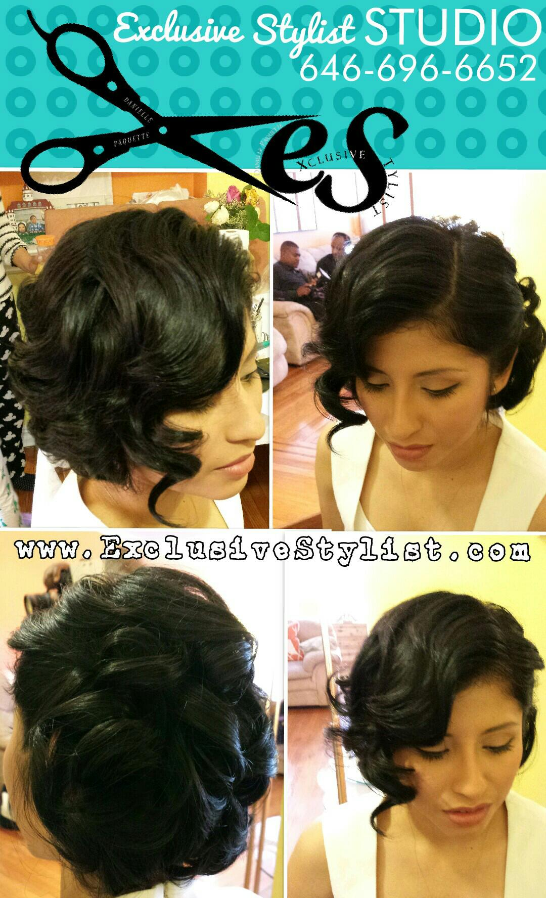 Bridal Party Short Hair updo