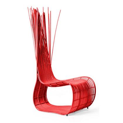 Handmade Wicker Qiana Wattana Easy Chair Red Color