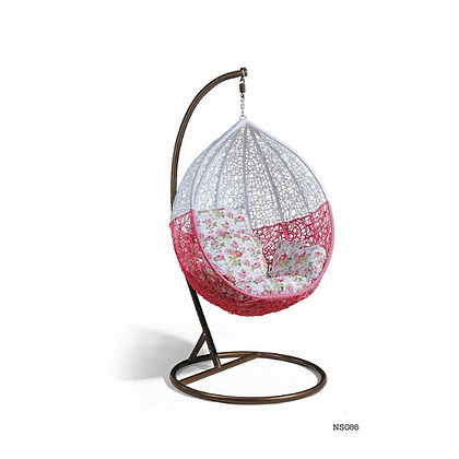 Handmade Wicker Pink-White Egg Swing for Home and Garden  - NS86