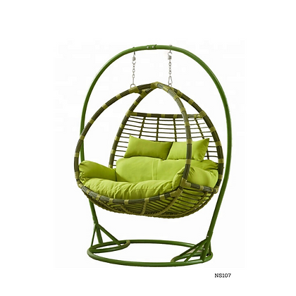 Handmade Rattan Hanging Double Egg Jungle Swing for Home and Garden- NS107