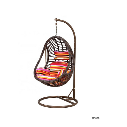 Handmade Natural Rattan, Wicker  Egg Swing Chair, Metal Stand-NS29