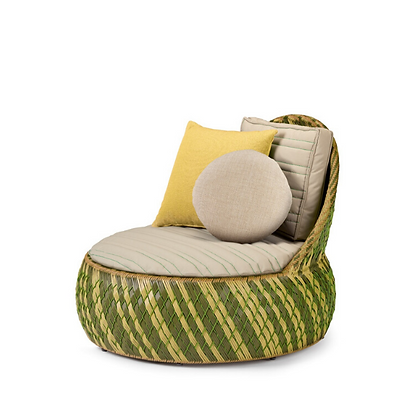 Handmade Wicker Arebic Green Lounge Chair