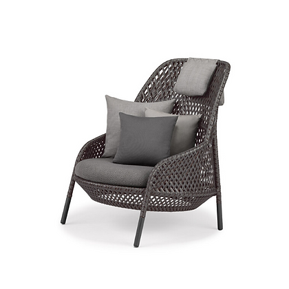 Handmade Wicker Hasna Graphite Wing Chair