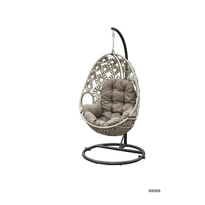 Handmade Rattan Hanging Silver Crown Swing for Garden and Home -NS88