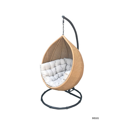 Handmade Rattan Hanging Brown Nest Egg Swing for Garden and Home -NS101