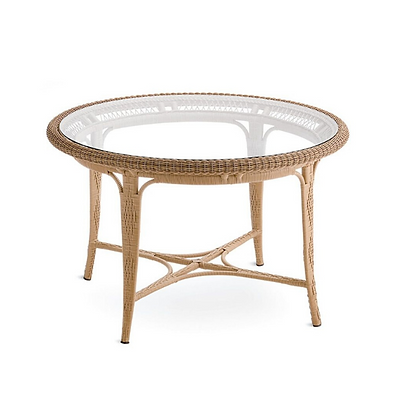 Handmade Wicker Azim Brown Dining Table  with Glass- ADT29
