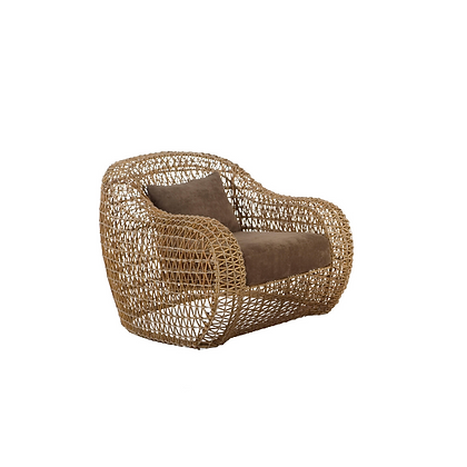 Handmade Rattan Abarrane Natural Color Big Arm Chair
