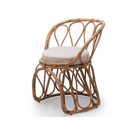 Handmade Natural Rattan Fairy Haloke  Side Arm Chair