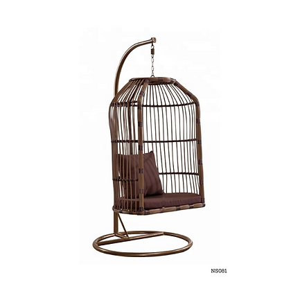 Handmade Rattan Rocking Cage Swing Chair Brown - NS81