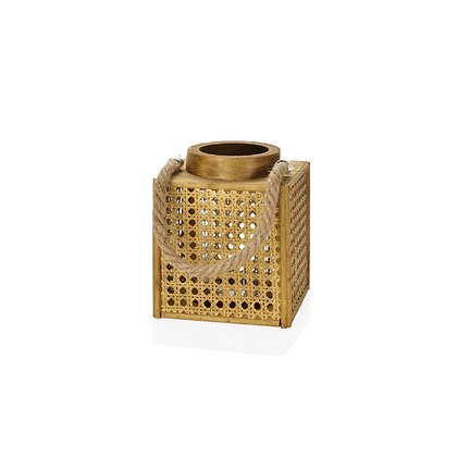 Handmade Natural Rattan Cube candle holder