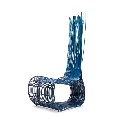 Handmade Wicker Qiana Wattana Easy Chair Blue Color