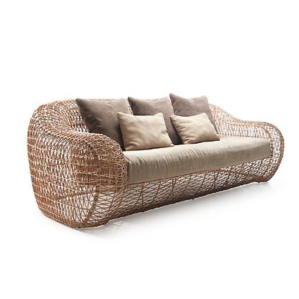 Handmade Rattan Abarrane Natural Color 3 Seater Sofa