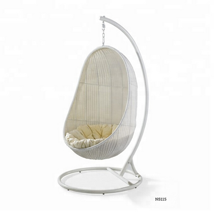 Handmade Rattan Hanging White Egg Swing  for Indoor and Outdoor- NS115
