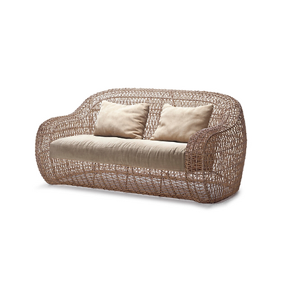 Handmade Rattan Abarrane Natural Color 2 Seater Sofa