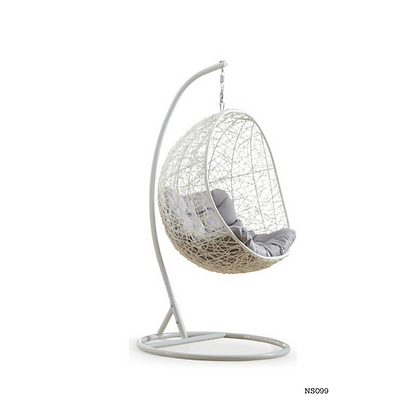 Handmade Wicker White Egg Swing for Home and Garden  - NS99