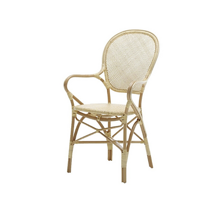 Handmade Natural Rattan Quang Arm Dining Chair