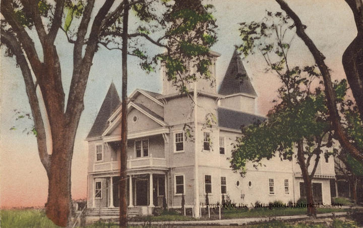 Hand-colored postcard showing Town Hall.