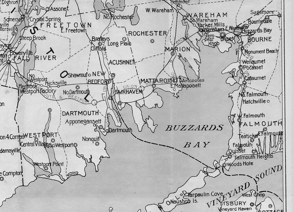 1903 black and white map of trolley and train lines Buzzards Bay