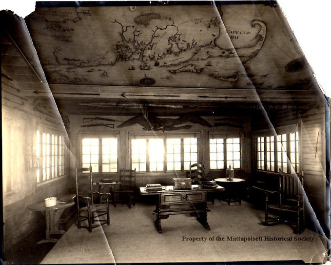 Clifford Ashley mural hanging on the ceiling of the Hindsdale house on Water St.