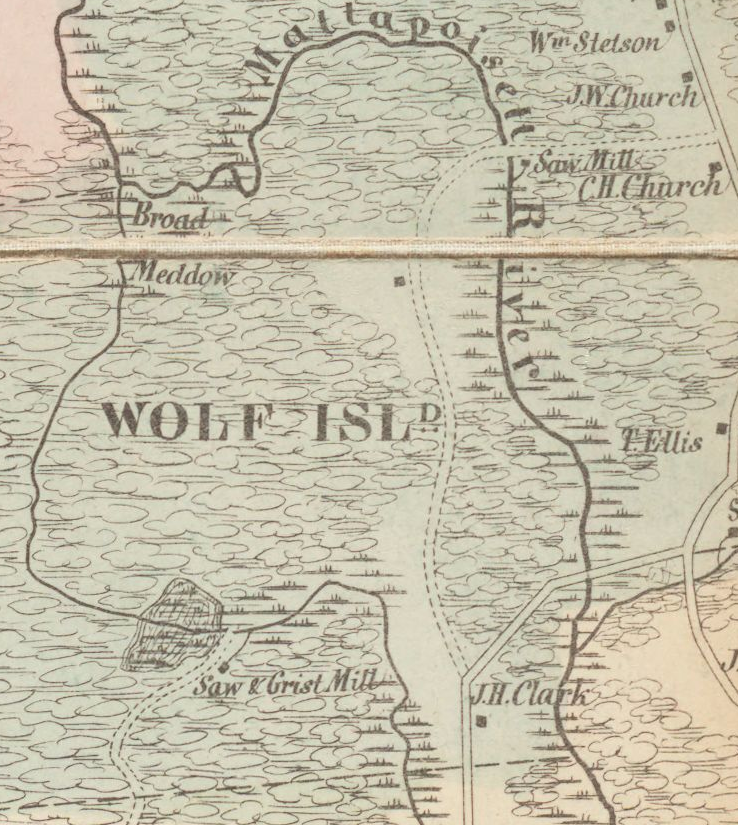 Map of Wolf Island Mattapoisett Rochester Saw and Grist Mill J.W. Church