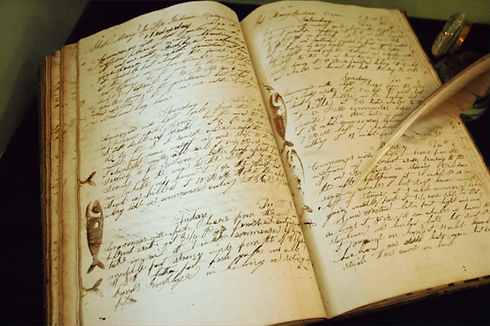 late 18th century whaling captains log book with quill