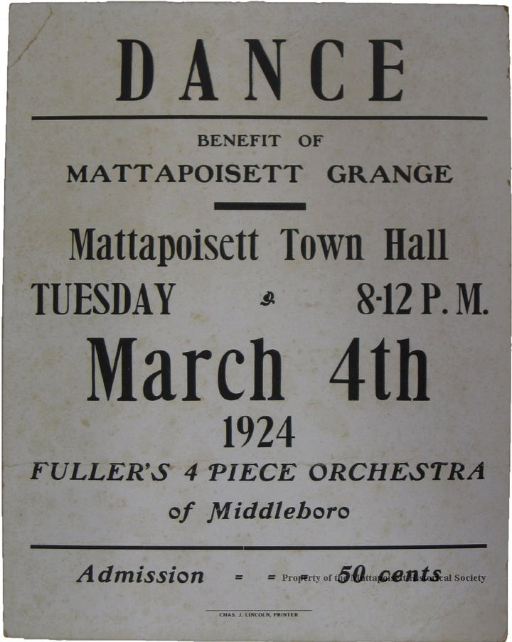 Poster for a dance at Town Hall in 1924.