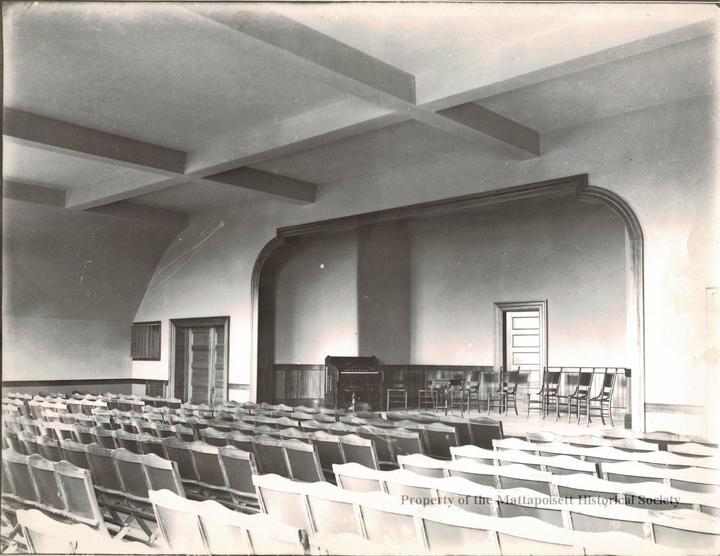 Auditorium inside Center School, c.1900. Currently the music classroom.