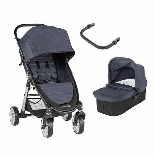 duo babyjoggger city mini 2 4 ruedas en color carbon