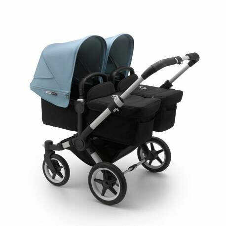 bugaboo donkey 3 twin chasis aluminio textil negro y capota color azul vapor