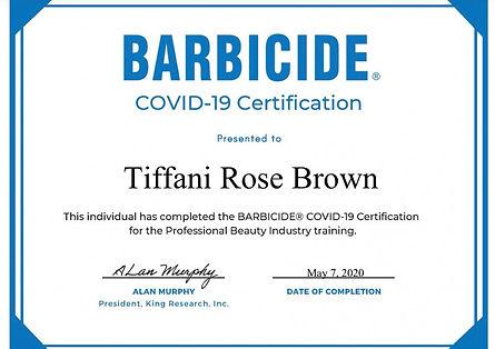 Barbicide Certificate COVID-19 Tiffani R