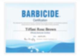 Barbicide Certificate Tiffani Rose Brown