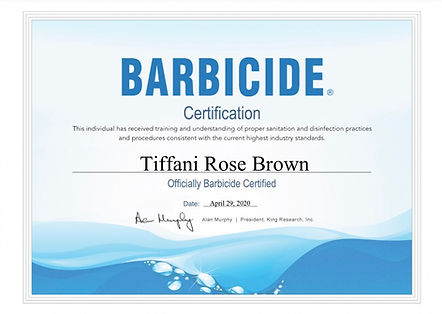 Barbicide Certificate Tiffani Rose Brown