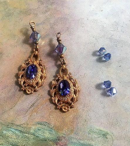 Vintage Floral Earrings with Vintage Tanzanite Swarovski® Rhinestones