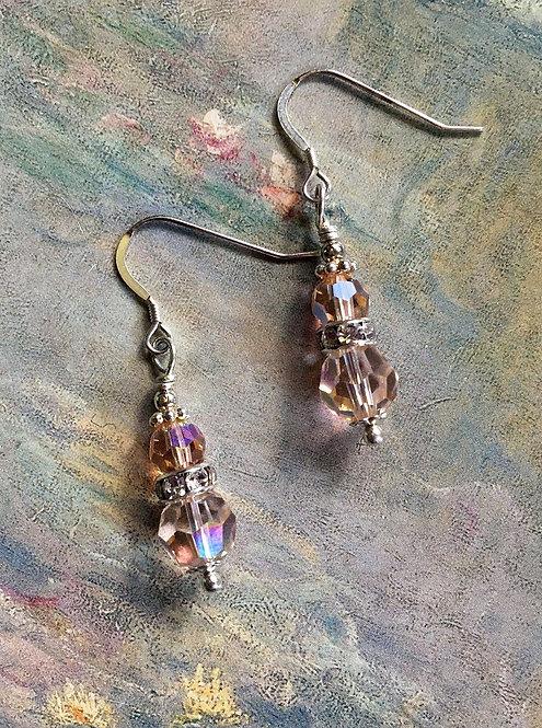 Silver Earrings Light Peach and Silk Swarovski® Brand Crystal Beads