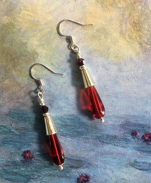 Silver and Red Teardrop Dangle Earrings